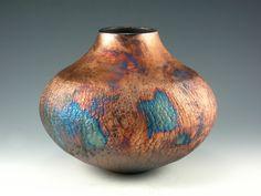 pink raku pottery | Raku Pottery Vase Blue and Copper Penny by BethGoobic on Etsy