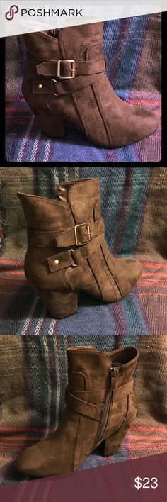 NIB Chocolate Brown Booties Brand new chocolate brown chunky heel Booties with strappy wrap around buckles, vegan suede, great paired with dresses and skinny jeans/jeggings! Closeout price!! Forever Shoes Ankle Boots & Booties