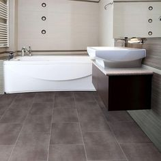 Floor Design, : Astounding Flooring Design Ideas In Bathroom Areas With Dark Brown  Self Sticking Vinyl Floor Tiles Including Brown Mounted Wall Bathroom Vanity And Rectangular White Bathtub