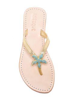 Mystique Cracked Gold Starfish Slip-On Sandal