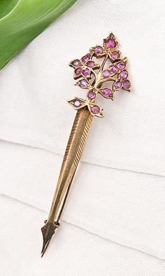 19th C. Gold Vermeil Ruby Sash Pin