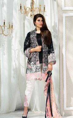 Shirt: Fabric: Printed Shirt with Sleeves, Embroidered Border & Embroidered Motifs Shalwar/Trousers: Fabric: Printed Trouser. Dupatta: Fabric: Printed Chiffon Dupatta.