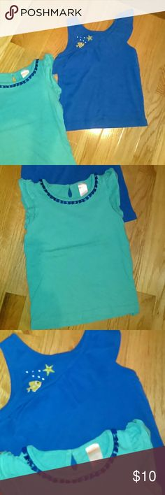 Gymboree Bundle 4 T tops Royal blue top with ruffle and fish on right shoulder....2 ND Top is more of an aqua trimmed in royal blue around neck.. Gymboree Shirts & Tops