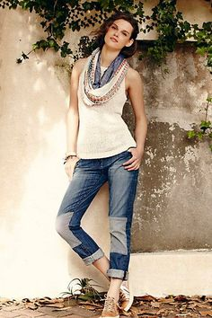 Pilcro Hyphen Patched Jeans | Anthropologie