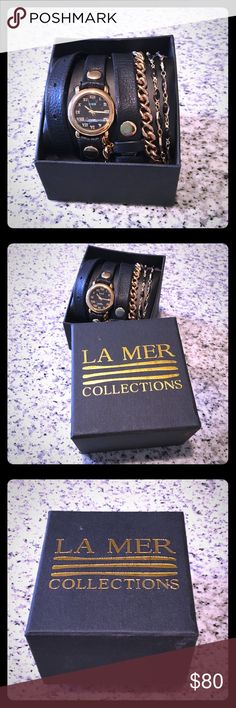 Black & Gold La Mer Wrap Watch Never worn!! New in box! La Mer Accessories Watches