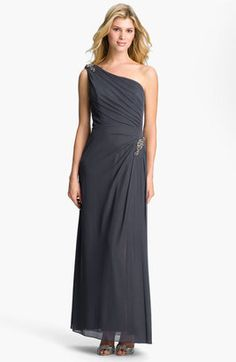 Alex Evenings One Shoulder Ruched Mesh Gown