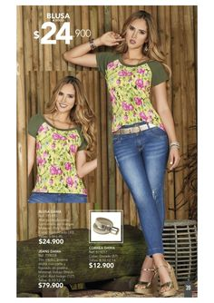 Gianni Garetti / Campaña 15 / 2017 Moda Chic, Online Shopping Sites, Blouse Designs, Indigo, Style Me, Capri Pants, Jeans, T Shirt, Yellow