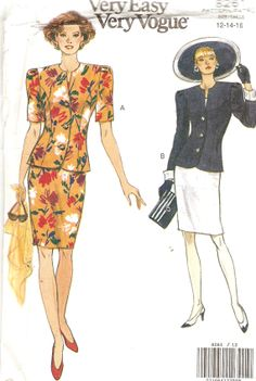 Misses Jacket and Skirt Pattern Bust 34 36 38 by CherryCorners, $8.00