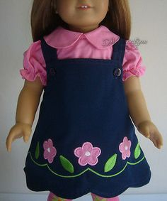 "Navy Jumper W/ Flowers + Blouse made for 18"" American Girl Doll Clothes"