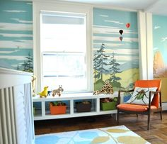 Paint by Number Trees on Nursery Walls