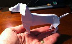 An origami wiener dog?! It must be one of my favorite things! #OrigamiDachshund #LoveDoxies #DoxieMom #WienerDog