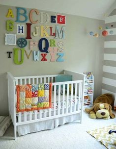 Charming Unisex Baby Room Themes and Bedding Ideas : Extravagant Unisex Baby Bedroom Themes With Alphabet Wall Art And Letters Covered In Scrapbook Paper Or Painted With Acrylic Paints On The Wall Baby Plus White Crib Baby Room Themes, Baby Boy Rooms, Baby Bedroom, Baby Room Decor, Baby Boy Nurseries, Nursery Room, Baby Boys, Church Nursery, Bedroom Girls