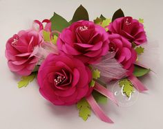 Paper Flower Corsage - Wedding corsage - Pink  Etsy listing at https://www.etsy.com/listing/494231784/wedding-corsages-paper-flowers-pink