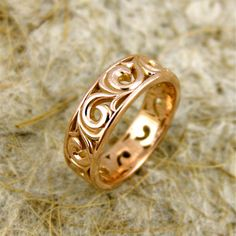 COPPER Wide 14k Rose Gold Flower Patterned Swirly Wedding Band with Big Scrolls and Glossy Finish  soooo pretty!
