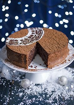 Rum-raisin chocolate torte with brown sugar crème fraîche