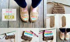 DIY Crochet Tribal Moccasin – Free Pattern  How to make ->http://www.goodshomedesign.com/diy-crochet-tribal-moccasin-free-pattern/ - Home Design - Google+