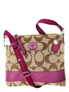 'Authentic Coach NWT Stripe Crossbody Bag KhakiI Berry' is going up for auction at  5pm Thu, Jan 3 with a starting bid of $80.