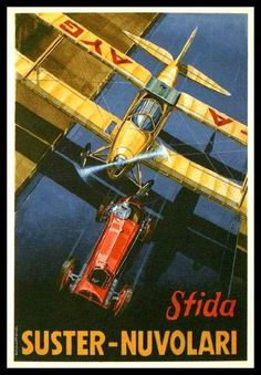 """Roma Dec Il Mitico Tazio Nuvolari raced his Alfa Romeo 2300 against Comndt. Vittorio Suster's Caproni """"Caprocino"""" at the Littorio track. The lovely biplane won at ATHENS GREECE / Businesses For Sale. Find a business or Franchise to buy or lease. Alfa Romeo, Poster Ads, Advertising Poster, Vintage Advertisements, Vintage Ads, Retro Ads, Vintage Designs, Vintage Items, Air Festival"""