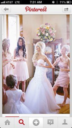 Getting bride dressed