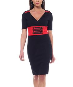 Take a look at this NUE by Shani Black & Red Banded Dress on zulily today!