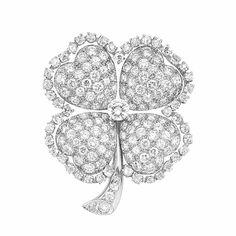 Platinum and Diamond Clover Brooch, J.E. Caldwell...