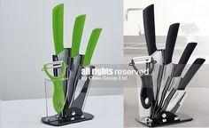 Комплект керамични ножове със стойка и белачка