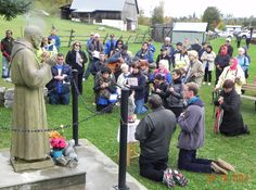 Pilgrims on first Sat. in October, and the prayers has started, at the statue of Saint Padre Pio