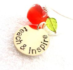 Teach and Inspire - Hand Stamped Teacher Gift. $30.00, via Etsy.