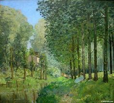 "Lisière de bois"" (""Rest along the Stream, Edge of the Wood"") (Alfred Sisley, oil on canvas). In the Musée d'Orsay, Paris. Impressionist Landscape, Impressionism Art, Impressionist Paintings, Landscape Paintings, Claude Monet, Pierre Auguste Renoir, Sisley Alfred, Painting Prints, Fine Art Prints"