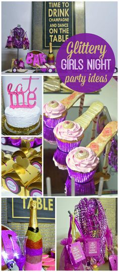 A glamorous, glittery purple girls night party with high heel cupcakes and gorgeous party favors! See more party planning ideas at CatchMyParty.com!