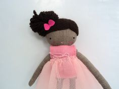 Ballerina rag doll  black doll plush toy by lassandaliasdeana, $33.50
