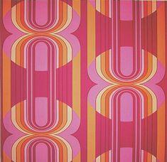 Papiertapete Tapete Grafik Retro Vintage Deko Orange Violett