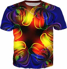 Psychedelic,Short Sleeve Abstract Fractal Shapes,Baseball T-Shirt Tee Tops for Male