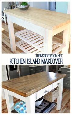"""Do you love the look of an antique kitchen island with a reclaimed wood top?   Here is how I made my own """"antique"""" kitchen island from a basic unfinished piece of furniture!"""