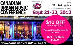 ONE DAY LEFT TO GET EARLY BIRD TICKETS to the Canadian Urban Music Conference! & Awards Show at TIFF Bell Lightbox! Get tickets now at http://tickets.linebypass.com/event/CanadianUrbanMusic    MEET 40 AMAZING POWERFUL SPEAKERS! Robert Fernandez, Manager of Pitbull & CEO of  Famous Artist Music & Management  AND Carmen Murray, Manager of Melanie Fiona & Founder of Title Nine Productions AND Troy Patterson, USA A and CEO of 3rd Street Music Group AND MANY MORE including major record label A