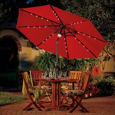 Light Up Your Outdoor Dining Area With A Solar Lighted Patio Umbrella.