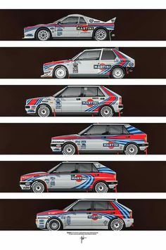 Some awesome Formula 1 and rally cars from the and illustrated by Ricardo Santos with a perfect retro feel. Sport Cars, Race Cars, Carros Suv, Vehicle Signage, Martini Racing, Lancia Delta, Fiat Abarth, Car Advertising, Car Drawings
