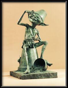 'Mischief' by David Goode - Glorious Bronze Sculpture for the store's garden! Garden Whimsy, Garden Art, Garden Soil, Sculpture Clay, Bronze Sculpture, Woodland Creatures, Mythical Creatures, Humanoid Creatures, Kobold