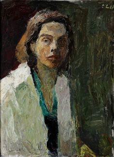 Elga Sesemann Finlande) ~ Self-Portrait ~ Oil on Canvas 73 x 54 cm Artistic Visions, Virtual Art, Digital Museum, Collaborative Art, Portrait Art, Potrait Painting, Studio Portraits, Figure Painting, Figurative Art