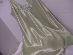 Satin Chemise Night Gown with a front V-neck line Spaghetti Straps Floral Embroidery Accents on Bodice Top Rounded Hem  PLEASE READ DETAILS AND