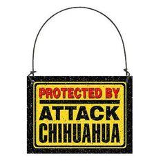 DECO Mini Sign Ornament Protected By Attack CHIHUAHUA Door Hanger All Dog Breed  #DecorativeGreetingsInc