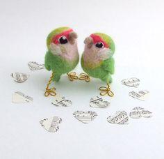 Lovebird Needlefelted Mini Bird Peach Faced by feltmeupdesigns, £16.00