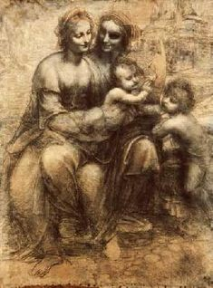 Leonardo da Vinci Madonna and Child with St Anne and Saint Johnthe Baptist as Child, , National Gallery, London. Read more about the symbolism and interpretation of Madonna and Child with St Anne and Saint Johnthe Baptist as Child by Leonardo da Vinci. Renaissance Kunst, High Renaissance, Renaissance Artists, St Anne, Art Ninja, Burlington House, Saint Jean Baptiste, National Gallery, National Art