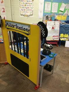 Finger Print desk for the Police station role play / dramatic play area Dramatic Play Area, Dramatic Play Centers, Police Activities, Preschool Activities, Reggio Emilia, What The Ladybird Heard Activities, People Who Help Us, Community Helpers Preschool, Role Play Areas