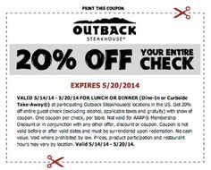 Outback Steakhouse serves signature steaks, seafood, salads, sandwiches, desserts and assorted beverages. They offer coupons and bonus gift cards to guests to save on their meal purchase. To know more about their latest promotions, check out http://www.bestfreestuffguide.com/Free_Outback_Steakhouse_Coupons . Current offers include bonus card with purchase of gift cards as well as 15% off entire check upon presentation of a coupon.