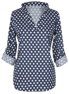 $21.99 Only with free shipping&easy return! This dot printing top is detailed with v-neck&high low hem! Cozy in the right way with Cupshe.com