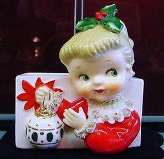 Vintage 1950s NAPCO Christmas GIRL Ornament Headvase Planter Head Vase