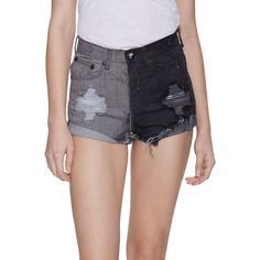 One Teaspoon Women's Hawks Two Tone Denim Short - Size 23 ($49) ❤ liked on Polyvore featuring shorts, multi, frayed denim shorts, destroyed jean shorts, cotton shorts, ripped denim shorts and denim shorts