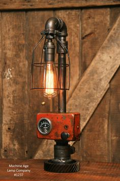 Steampunk Industrial Lamp / Tractor / Farm / Allis Chalmers / images ideas from Home Inteior Ideas Industrial Design Furniture, Vintage Industrial Furniture, Industrial Bedroom, Industrial House, Industrial Interiors, Industrial Lighting, Industrial Style, Industrial Closet, Industrial Bookshelf