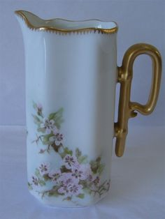"HAVILAND LIMOGES FRANCE HAND PAINTED MILK / SYRUP PITCHER 6-1/2""  #HAVILANDLIMOGESFRANCE"